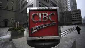 Exteriors of the CIBC sign located on the sidewalk outside the bank's head offices at the corner of King St. West and Bay St. in Toronto.