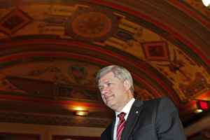 Prime Minister Stephen Harper arrives for a meeting on Capitol Hill in Washington on Thursday.