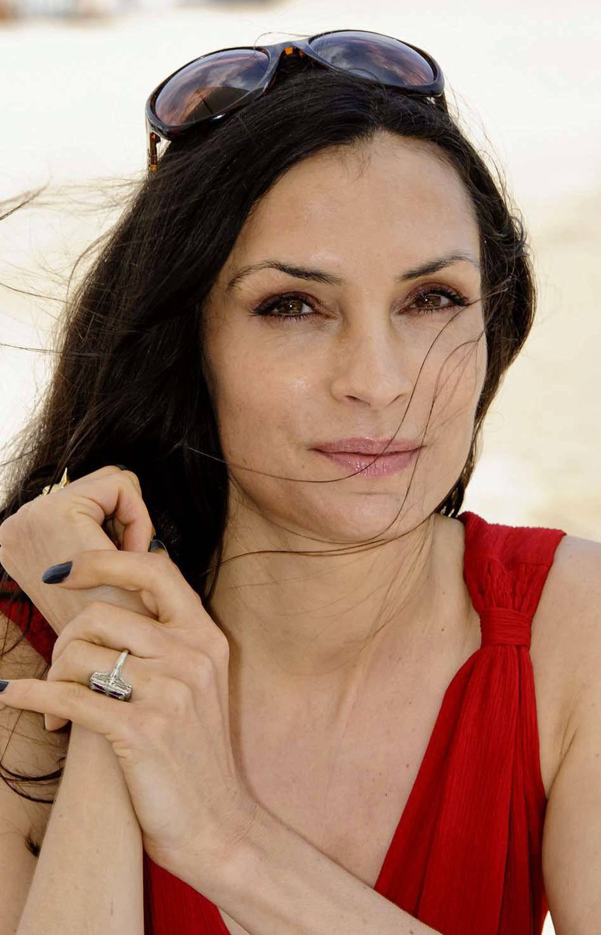 Dutch actress Famke Janssen at the American Pavilion on Friday during the Cannes Film Festival.