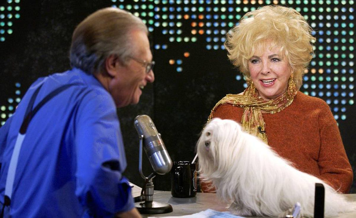 Elizabeth Taylor and host Larry King during a taping of Larry King Live at CNN Studios in Los Angeles on Feb. 3, 2003.