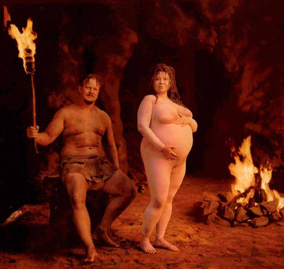 Five years later, pregnant celebrity exploitation moved on to its post-modern phase when TV sitcom star Roseanne Barr appeared with husband Ben Thomas in the September issue of Vanity Fair in another photo by Annie Liebovitz.