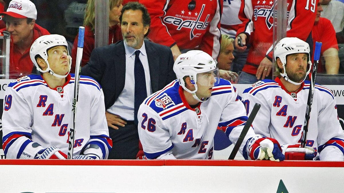 Ruslan Fedotenko #19, Head Coach John Tortorella, Erik Christensen #26 and Vinny Prospal #20 of the New York Rangers appear dejected as they loose to the Washington Capitals 3-1 in Game Five of the Eastern Conference Quarterfinals during the 2011 NHL Stanley Cup Playoffs at the Verizon Center on April 23, 2011 in Washington, DC. (Photo by Len Redkoles/Getty Images)