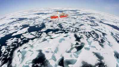 The Canadian Coast Guard icebreaker Louis S. St-Laurent makes its way through the ice in Baffin Bay, on July 10, 2008.