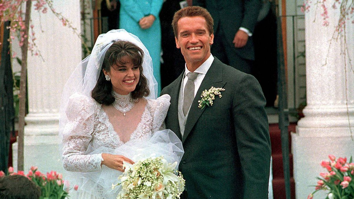 In an April 25, 1986 file photo, Actor Arnold Schwarzenegger poses with his bride Maria Shriver following their wedding ceremony in Hyannis, Mass. Former California Gov. Arnold Schwarzenegger and his wife of 25 years, Maria Shriver, announced Monday May 9, 2011, that they are separating.