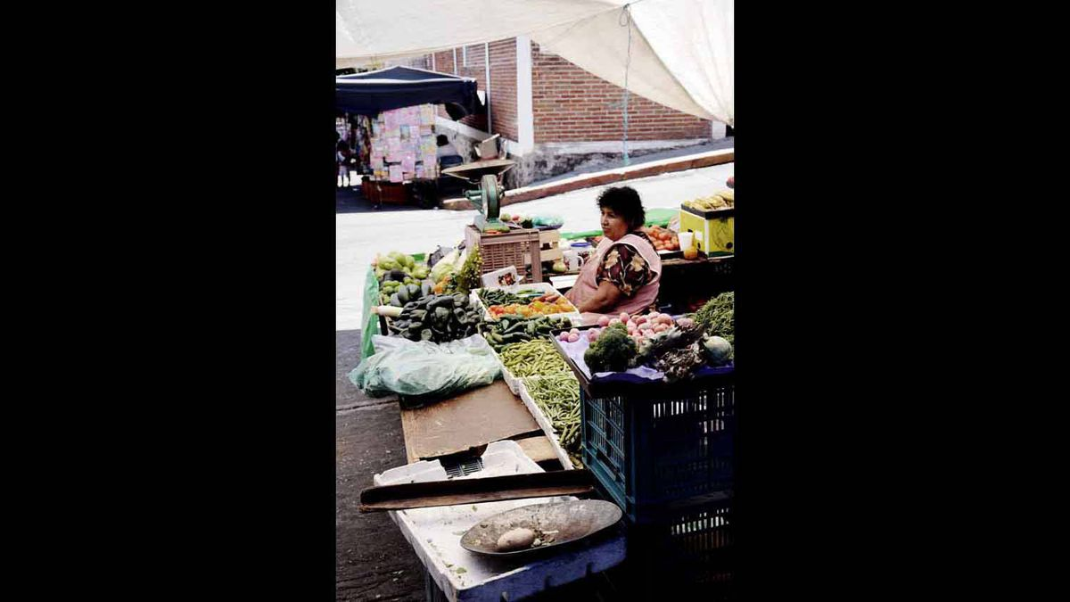 As I was exploring the city of Cuernavaca, I happened upon this lady selling fruits and vegetables at the bazaar. She didn't seem to pleased about my intrusive lens, but I captured her unease.