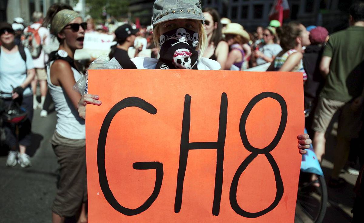 Demonstrators take part in a protest ahead of the G20 Summit in downtown Toronto.