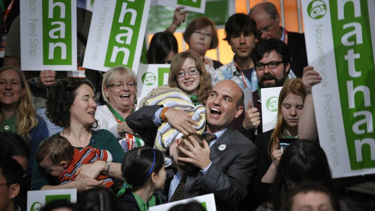 NDP leadership candidate Nathan Cullen plays with his son at the convention in Toronto March 24, 2011.