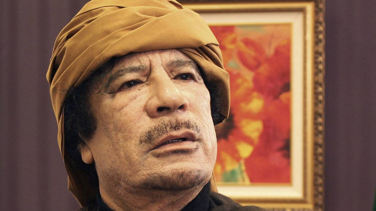 Colonel Moammar Gaddafi poses after an interview with TRT Turkish television in Tripoli on March 8, 2011.