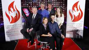 Inductees to the Canada's Sports Hall of Fame, left to right, Dick Pound, a former vice-president of the International Olympic Committee, former B.C. Lions kicker Lui Passaglia, Andrea Neil, a former assistant coach with the Canadian women's soccer team and two-time W-League soccer champion, Ray Bourque, a Stanley Cup winner and member of the Hockey Hall of Fame, Peter Reid, a former Ironman champion and Lauren Woolstencroft, winner of 10 Paralympic ski medals sit for a group photo at the hall in Calgary, Alta., Tuesday, Nov. 8, 2011.