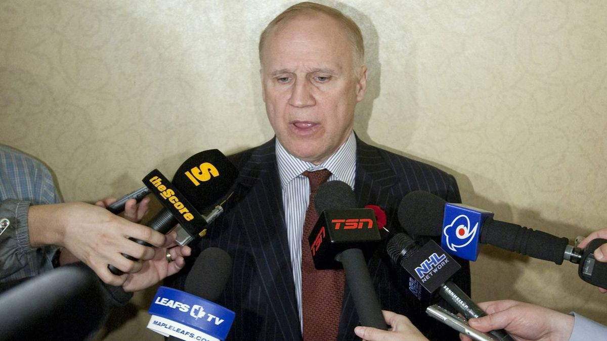 NHL Senior VP and Director of Hockey Operations Colin Campbell speaks to reporters during the NHL General Managers' annual fall meeting in Toronto, Ont. Tuesday, November 9, 2010.