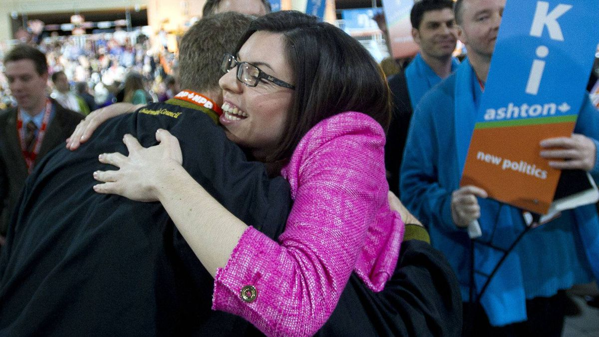 Candidate Niki Ashton receives a hug from a supporter after the first ballot at the NDP leadership convention at the Metro Toronto Convention Centre in Toronto, Ont. Saturday, March 24, 2012.