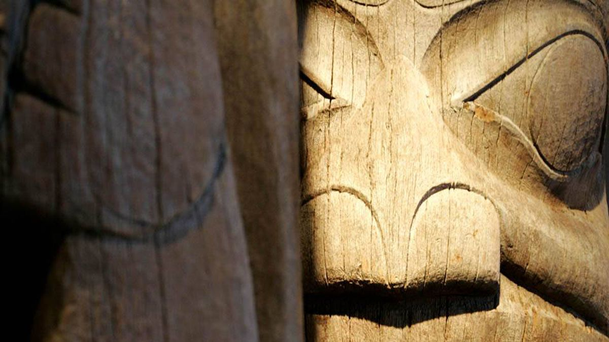 Haida Totem Poles in the newly renovated Museum of Anthropology at UBC in Vancouver, B.C.