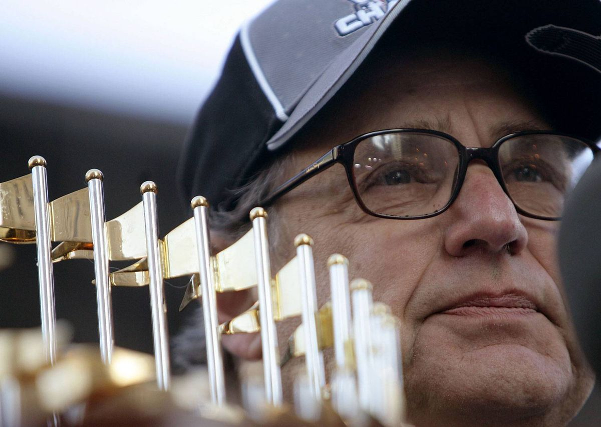 Chairman Jerry Reinsdorf of the Chicago White Sox fights back tears as he speaks to the crowd at the White Sox victory parade and rally on October 28, 2005 in Chicago, Illinois. Reinsdorf is currently involved in a bid to buy the ailing Phoenix Coyotes (Photo by Jonathan Daniel/Getty Images)