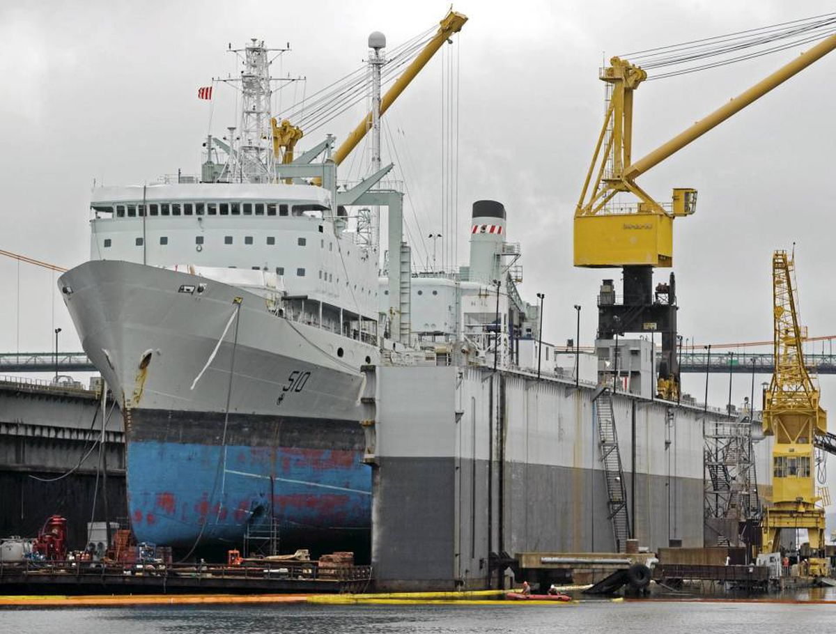 HMCS Preserver, the navy's 40-year-old Halifax-based supply ship, rests at drydock at the Irving-owned Halifax Shipyards.
