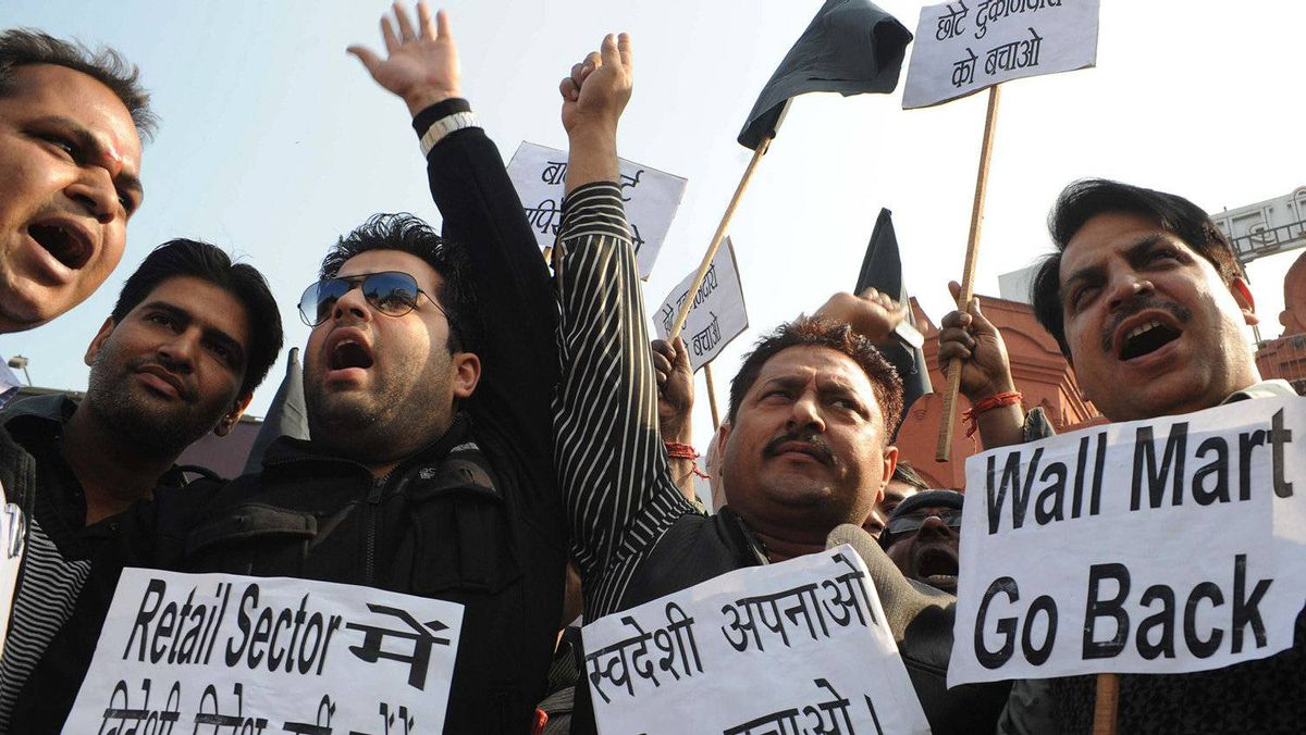 Members of India's Bharatiya Janata Party protest the proposed Foreign Direct Investment reform in the retail sector in Amritsar, Punjab, on Monday, Nov. 28, 2011.