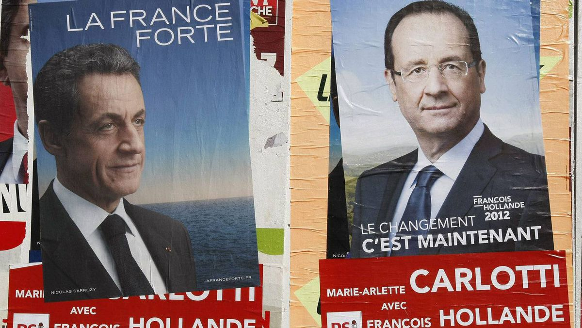 Posters of France's Socialist Party candidate François Hollande, and current French President Nicolas Sarkozy, are posted in front of a school in Marseille. The second round of the presidential elections will take place on May 6.
