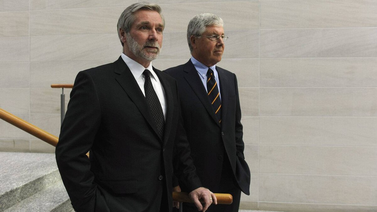 Fred Green (left), chief executive officer of Canadian Pacific Railway Ltd., and CP Rail chairman John Cleghorn.