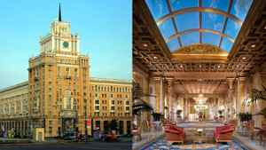 Moscow's Pekin Hotel, left, and the Copley Plaza in Boston. Both are being renovated by Fairmont Hotels.