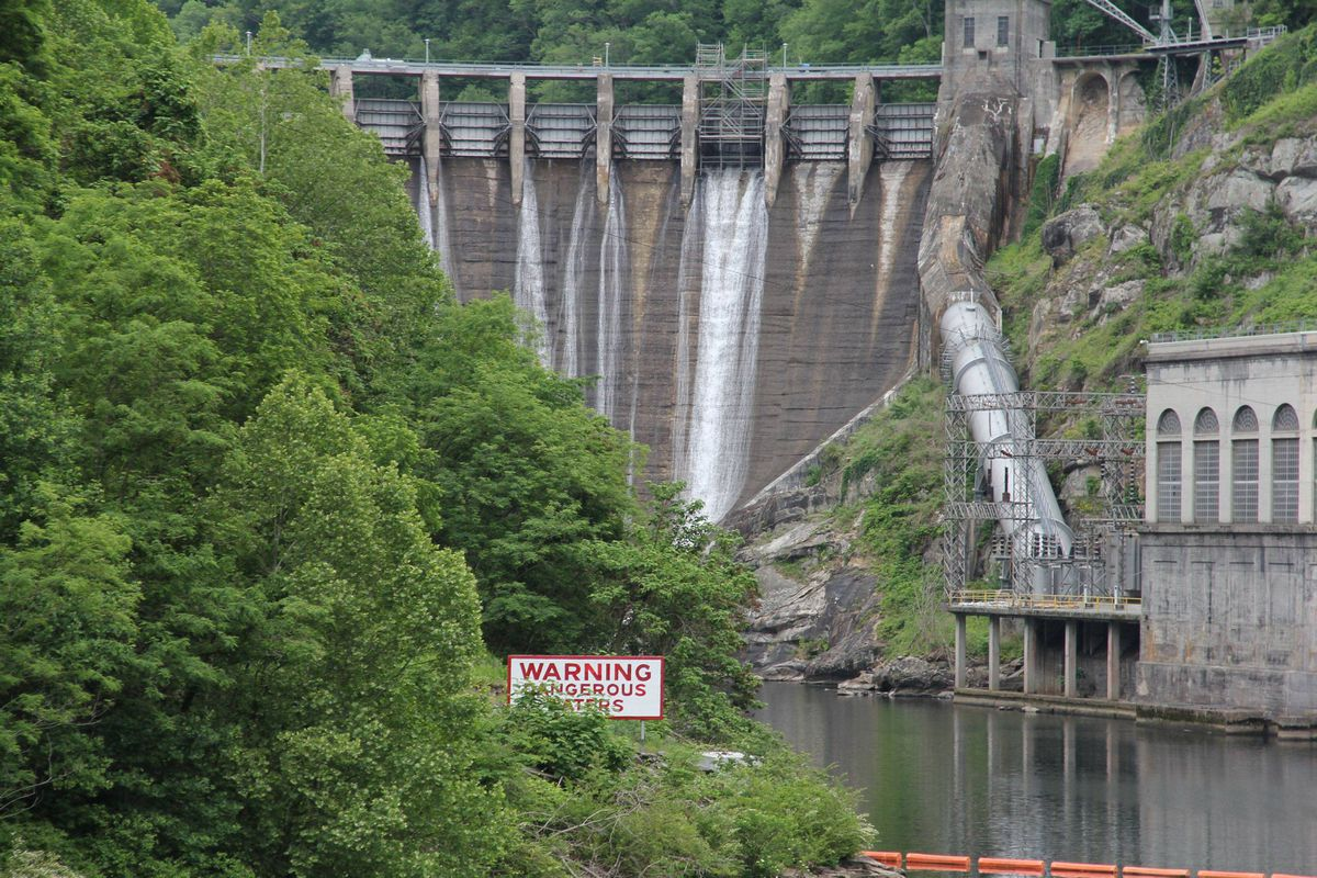 """Cheoah Dam, near Tapoco, North Carolina. Located along Hwy 129, the dam was used as a setting in the Harrison Ford movie """"The Fugitive."""""""
