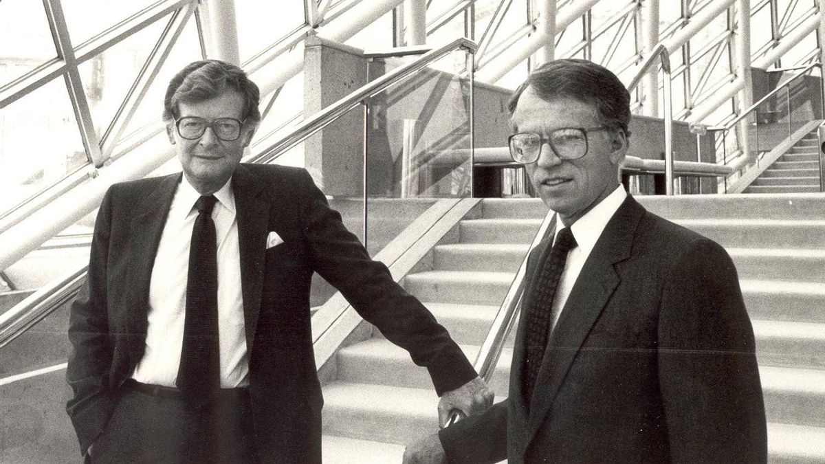Ken Thomson and John A. Tory, circa 1984