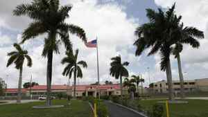The visitor entrance to the minimum security Federal Correctional Institution in southwest of Miami, FL where Conrad Black is scheduled to be released Friday, is seen May 4, 2012.