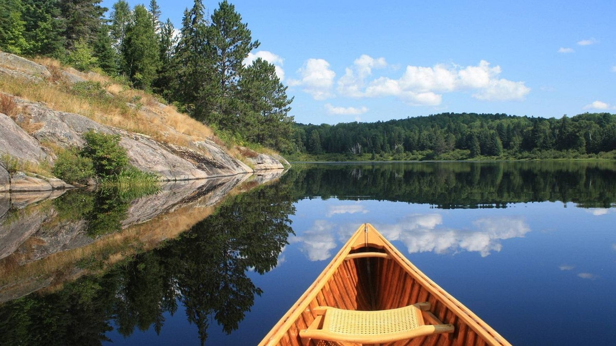 This winning photo, titled 'Perfect Day,' shows what the perfect paddle looks like on Kearney Lake, Algonquin Park.