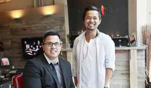 Jason Culala and Noel Naguiat, co-owners of Mankind Grooming Studio for men, smile for the camera
