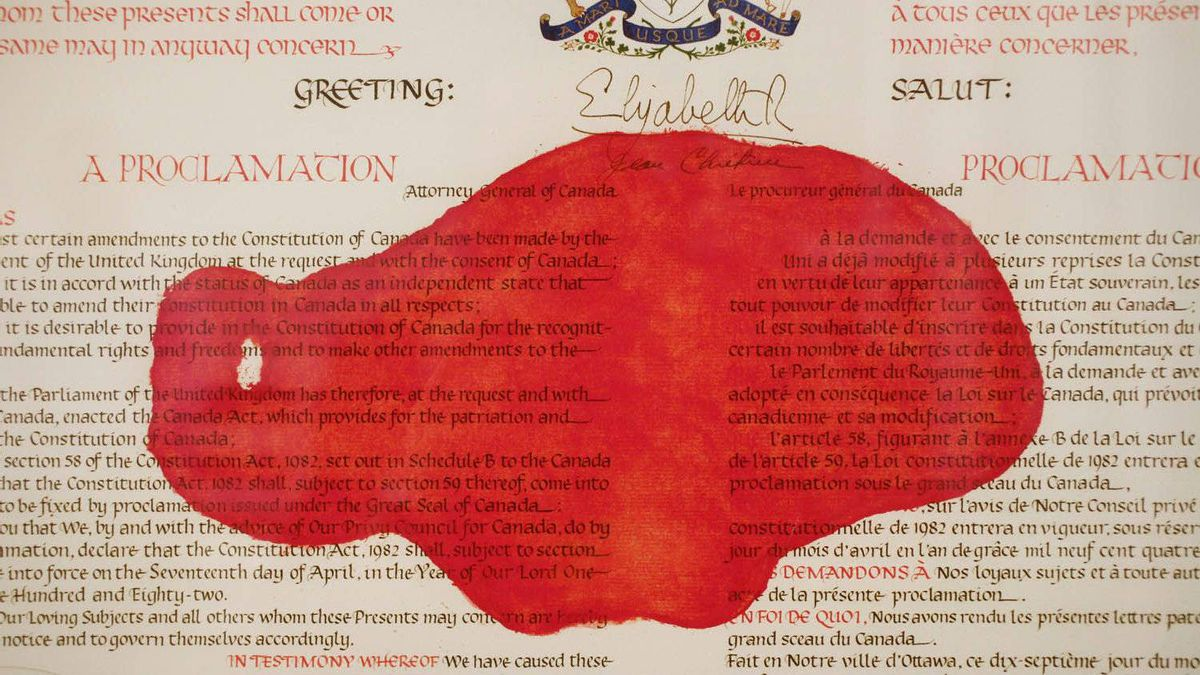 A red paint mark is seen on the Proclamation of the Constitution Act of 1982 at Library and Archives Canada Preservation Centre in Gatineau, Quebec.