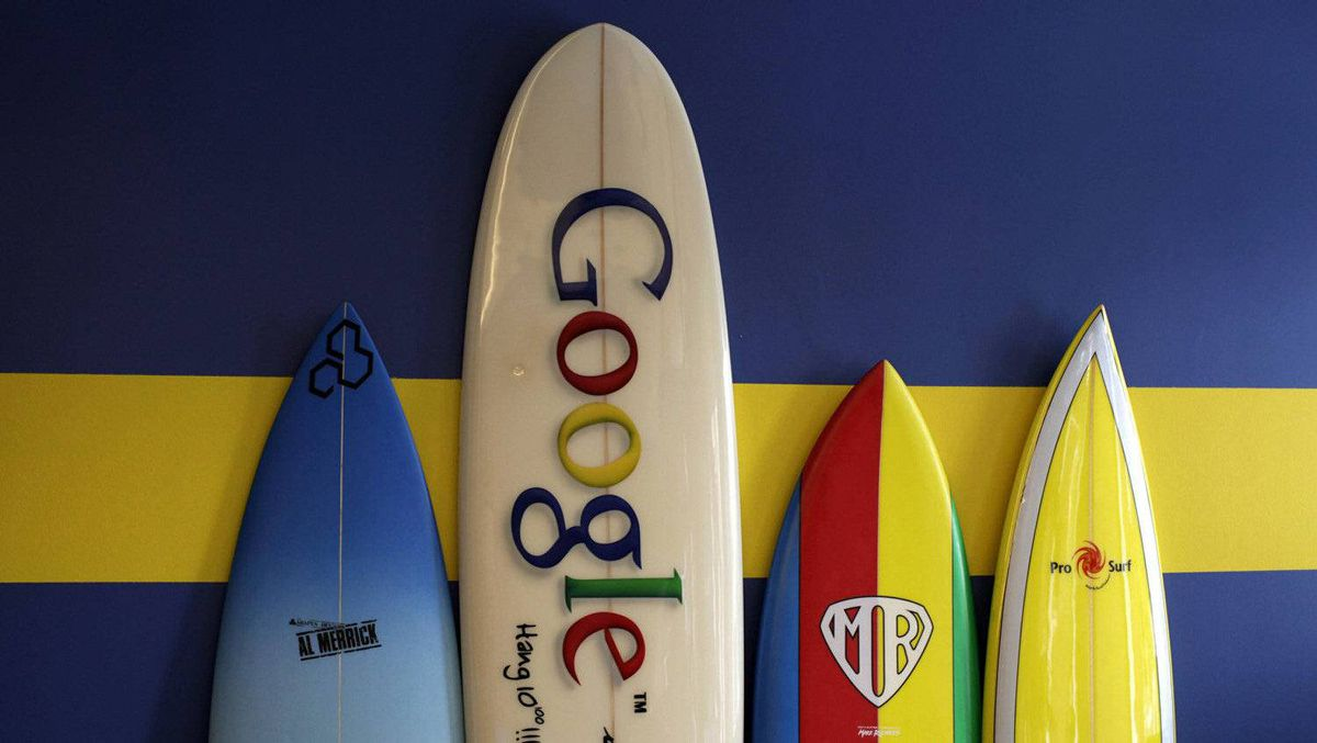 Surfboards lean against a wall at the Google office in Santa Monica, Calif.