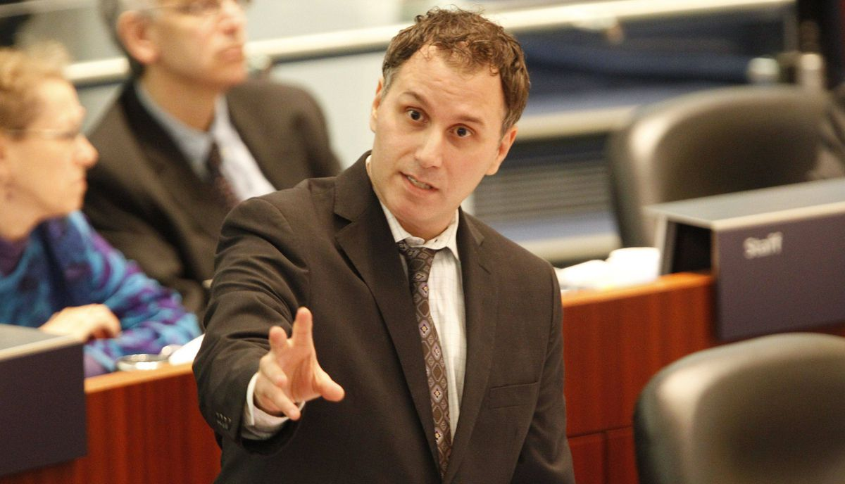 Councillor Josh Colle speaking during the ongoing budget debate at Toronto City Hall on Jan. 17, 2011.