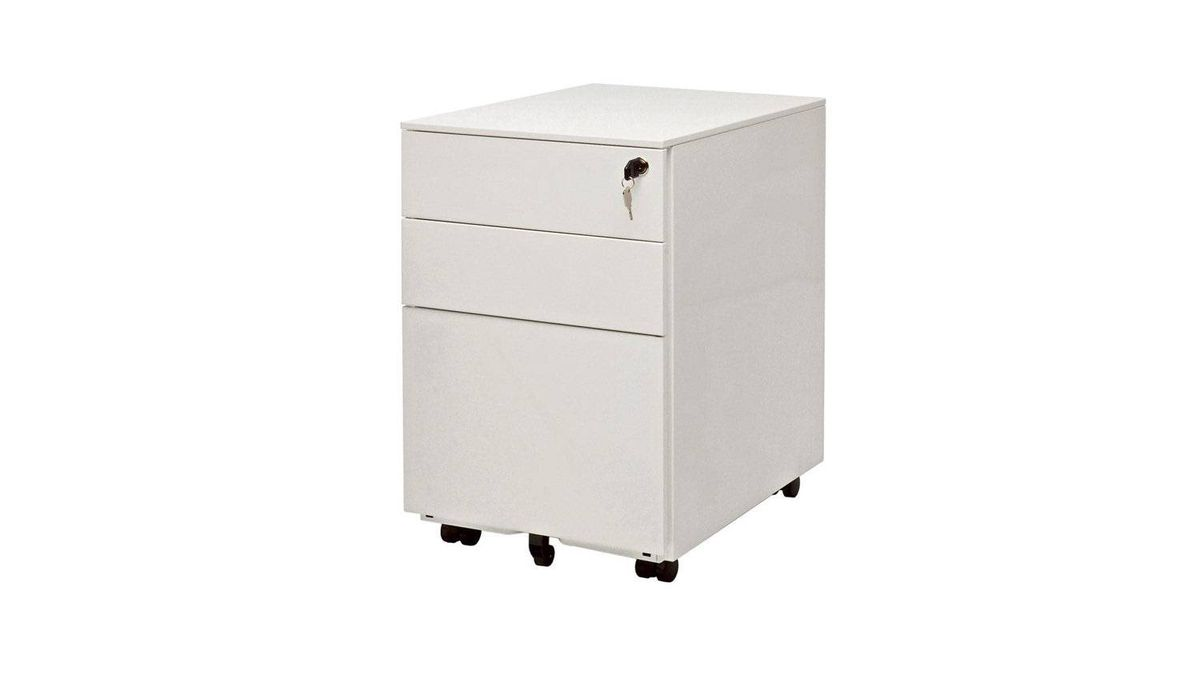 Blu Dot's Filing Cabinet No. 1 features a powder-coated steel exterior, locking casters and full-extension drawer slides, complete with lock and key. $199 through www.bludot.com.