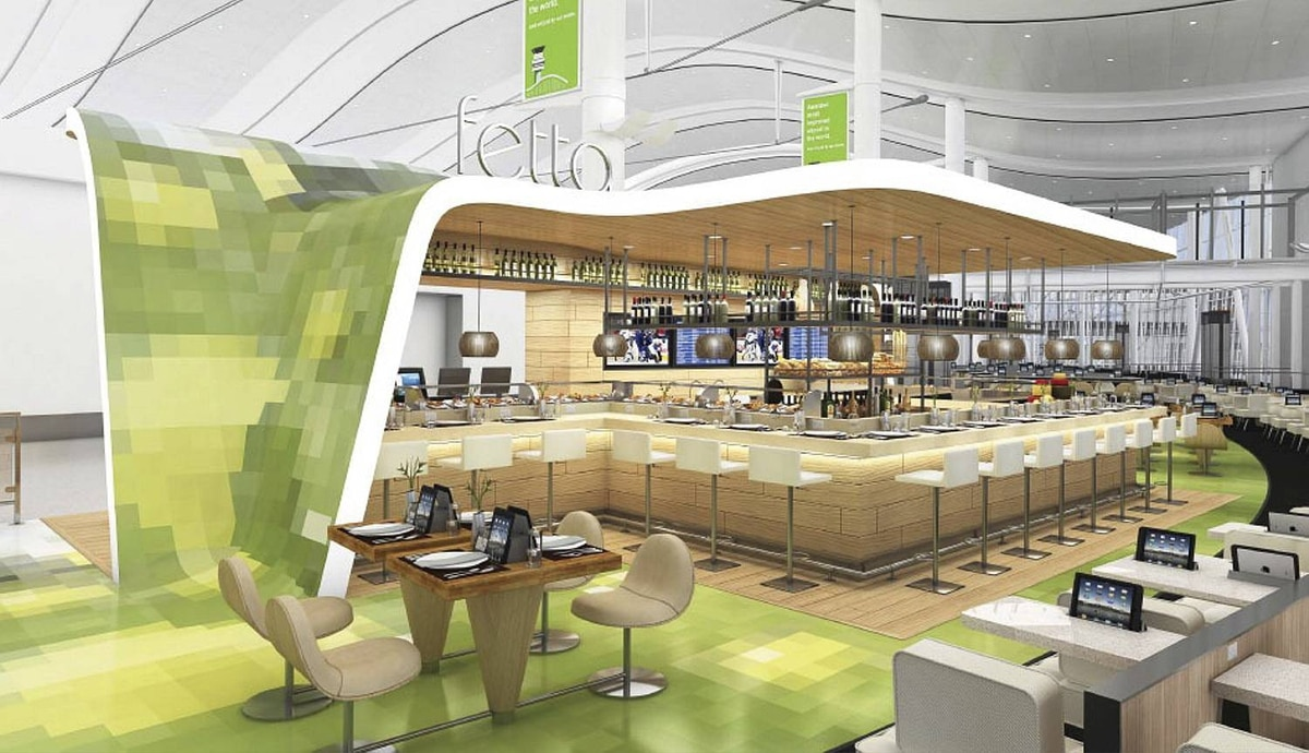 Fetta Panini Bar: Serving Terminal 1, Fetta Panini Bar is a lively spot offering guests a delicious selection of paninis, salads and small plates. The menu was developed by chef Mark McEwan. Fetta's design evokes a sense of spring, anchored by a maple wood structure to add a traditional Canadian texture. Each concept by OTG is unique to Toronto Pearson and Toronto. Each has been designed to represent different elements of the Toronto dining scene.