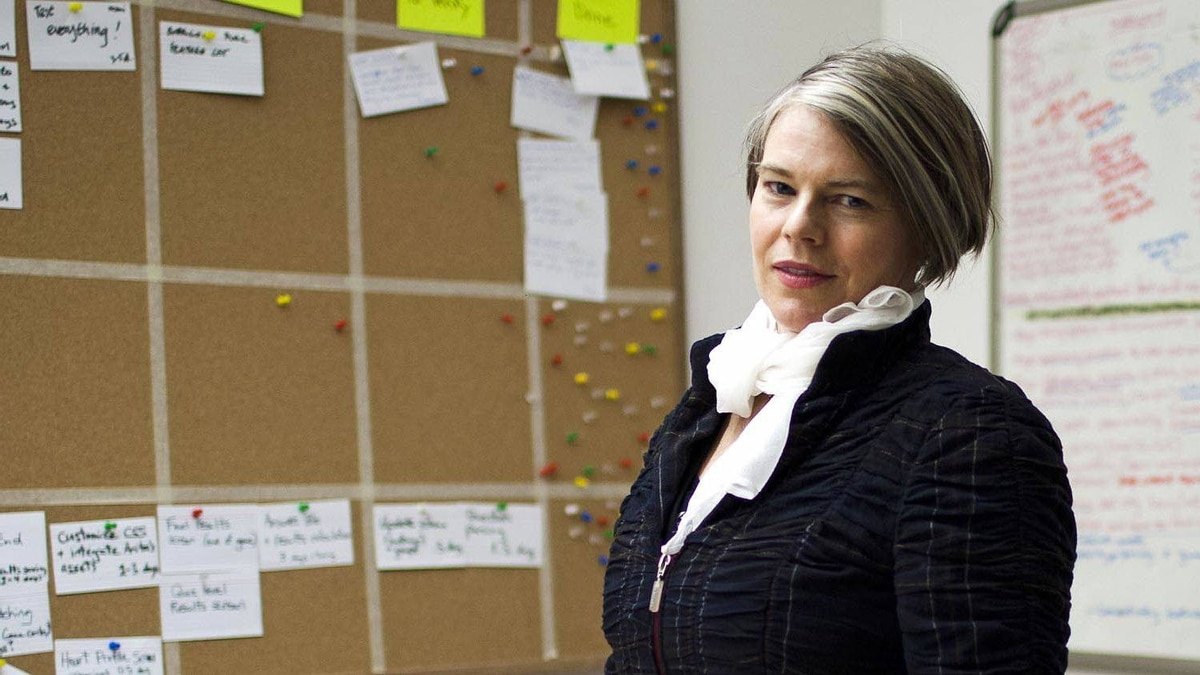 """Kirsten Forbes, Chief Operating Officer(COO) and co-founder of Vancouver-based Silicon Sisters Interactive, poses for a portrait in the company's """"war room"""" Tuesday, January 31, 2012."""