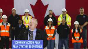 Mayor of Toronto Rob Ford speaks at an announcement at Billy Bishop Toronto City Airport in Toronto, March 9, 2012.