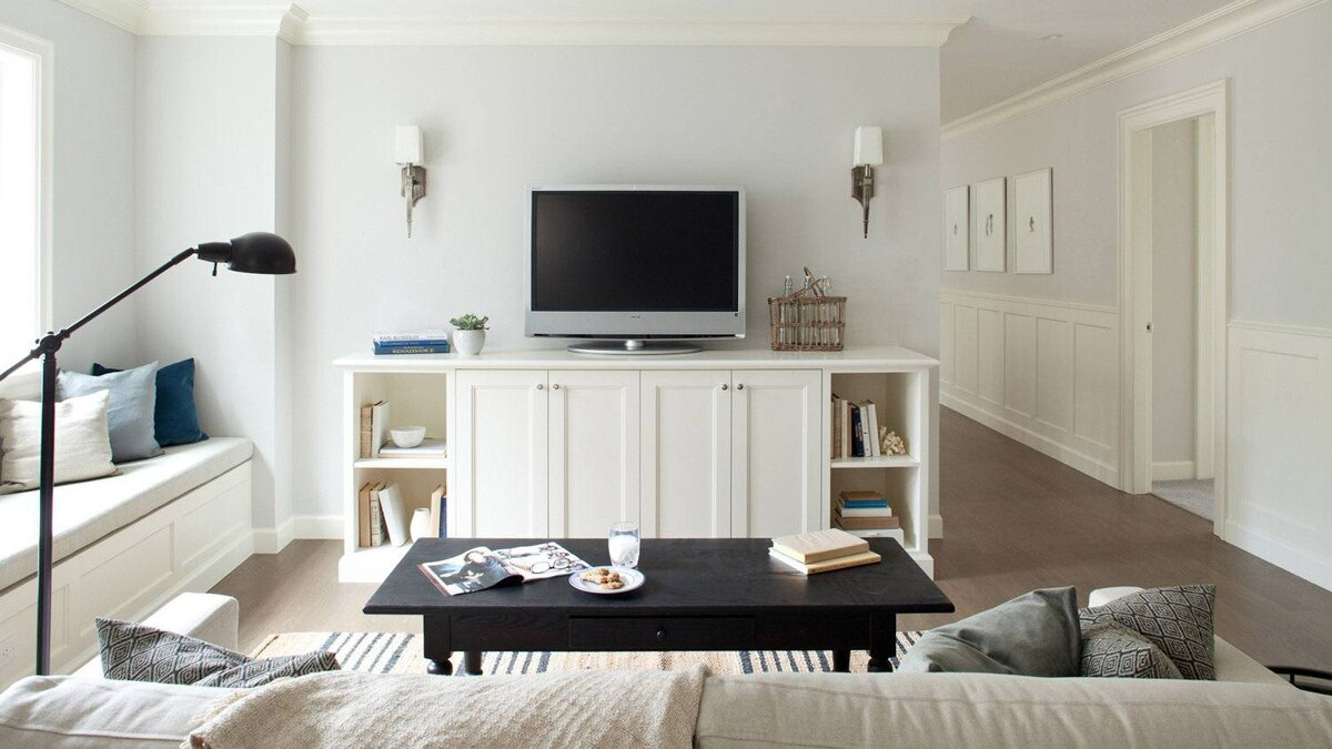 The biggest expense was the custom millwork. Here there were two items; the built-in bench seating and the media cabinet.