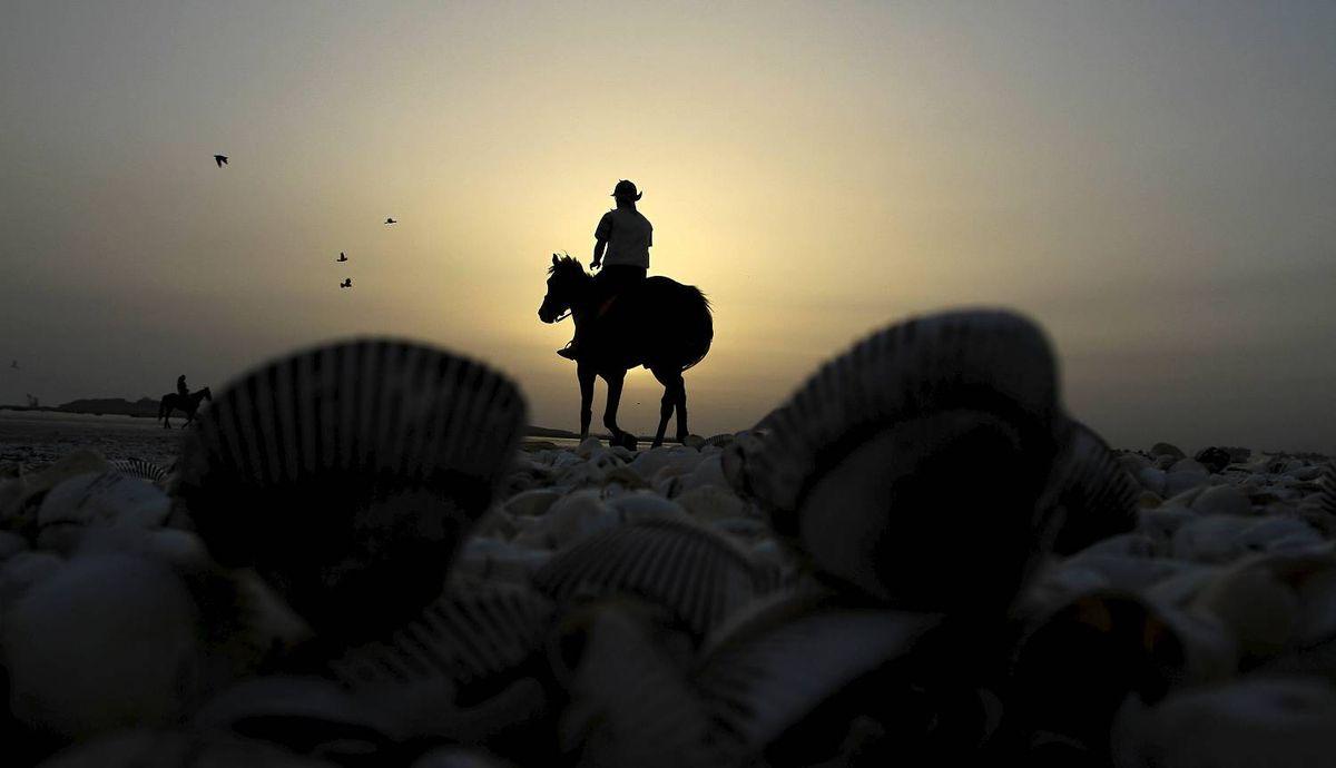 A man rides a horse at Karachi's beach area in Pakistan on Monday, Feb 27, 2012. (AP Photo/Shakil adil)
