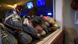 Classic bowling shoes on display at All Star Interactive