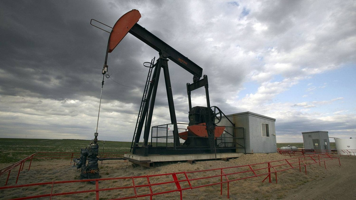 A pump jack draws oil out of the ground near Rockyford, Alta.
