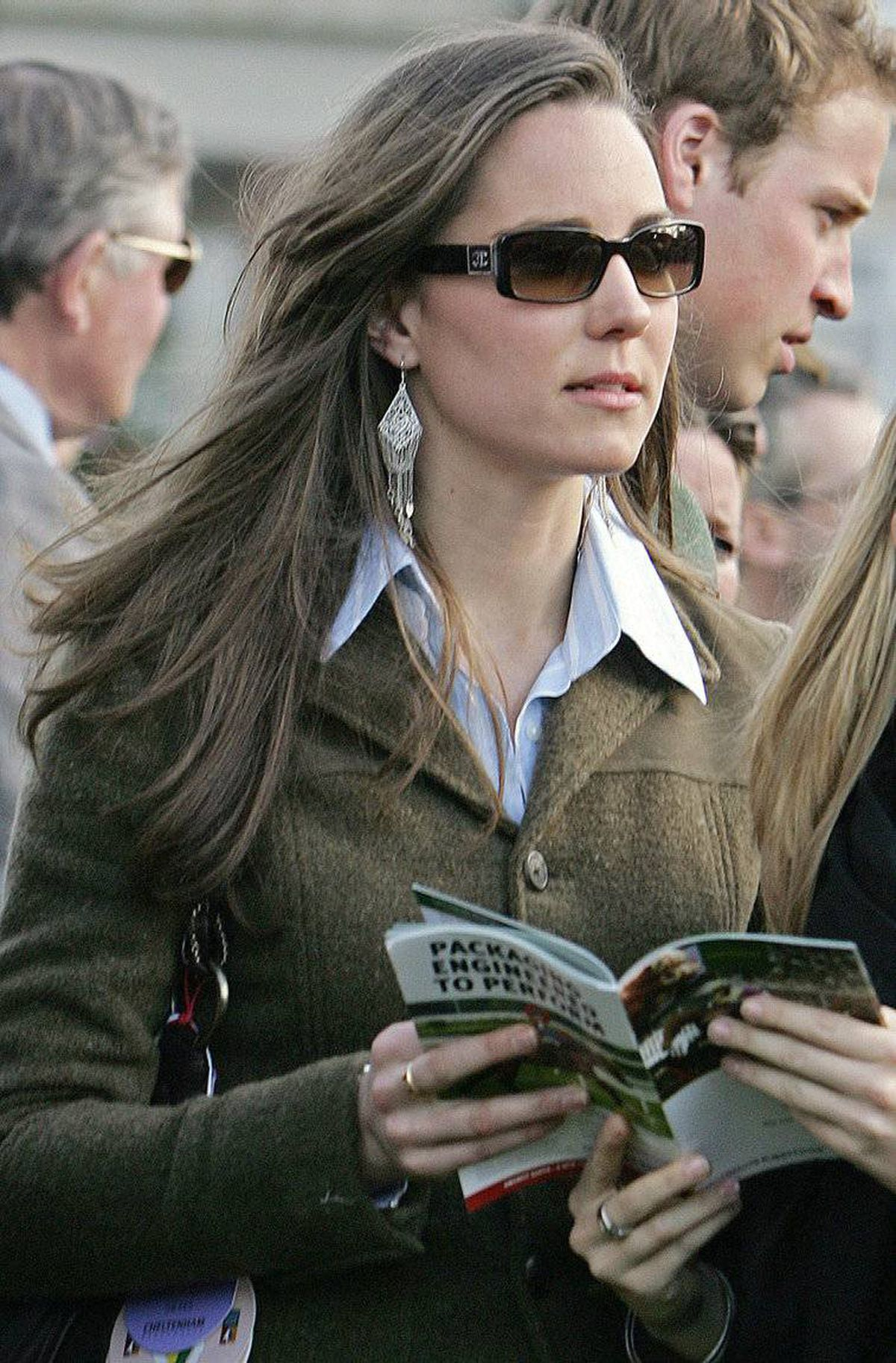 A photo taken on March 13, 2007, shows Kate Middleton on the first day of the Cheltenham Race Festival in Gloucestershire.
