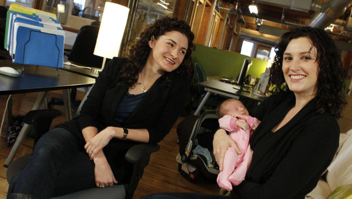Smartbrideboutique.com founders Andrea Lown, left, and Leah Andrew, with her new daughter, Ada