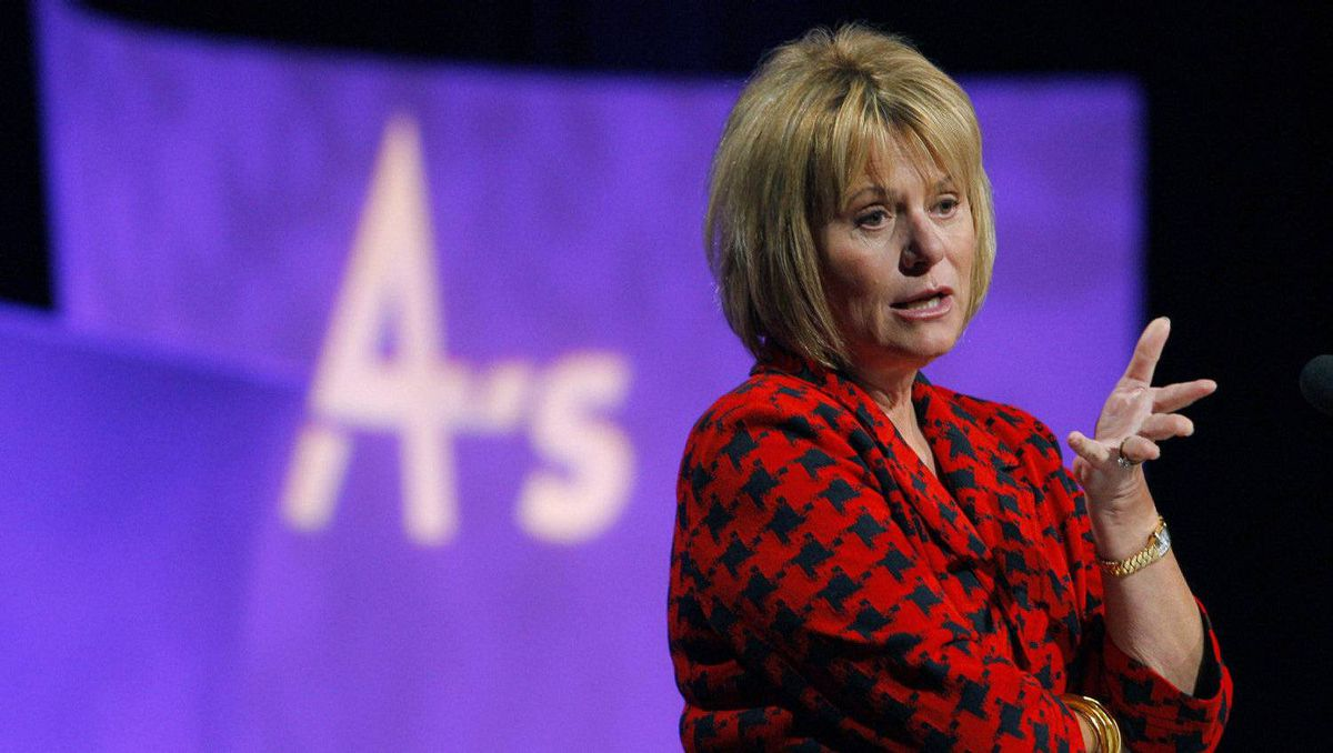 Yahoo CEO Carol Bartz gestures during her speech at the American Association of Advertising Agencies annual Media and Leadership Conference in San Francisco, California March 1, 2010.