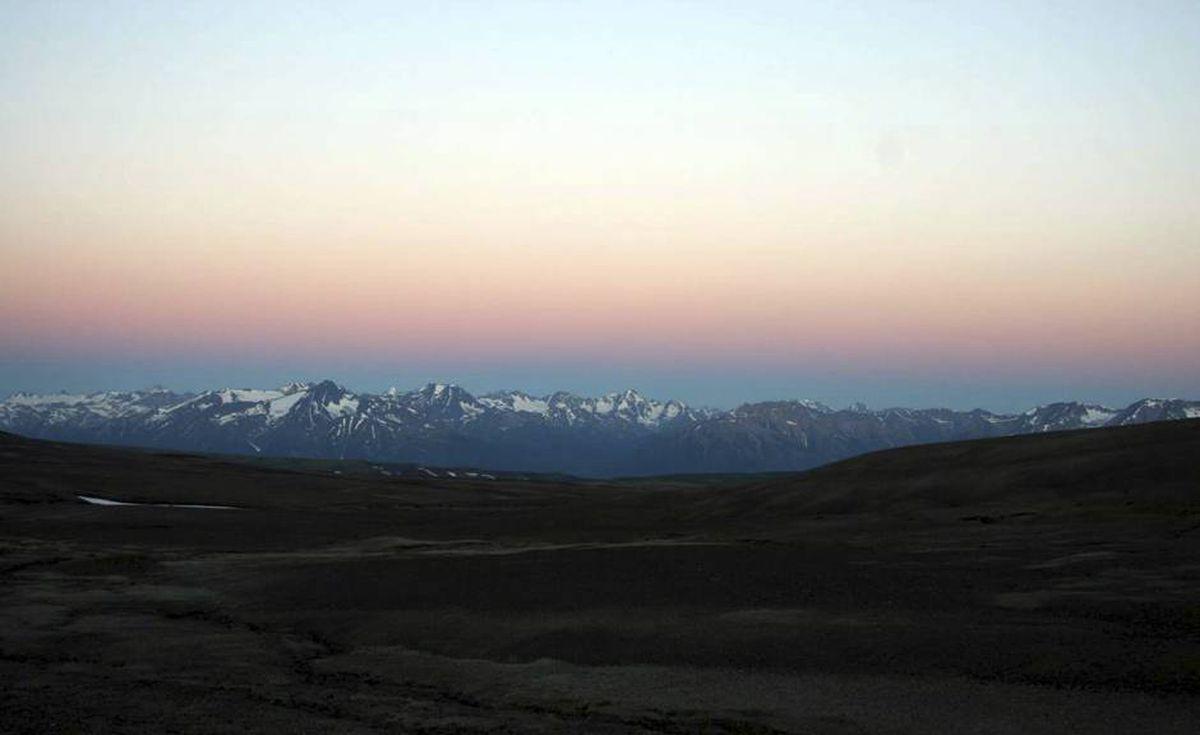 Sunrise over Mount Edziza.