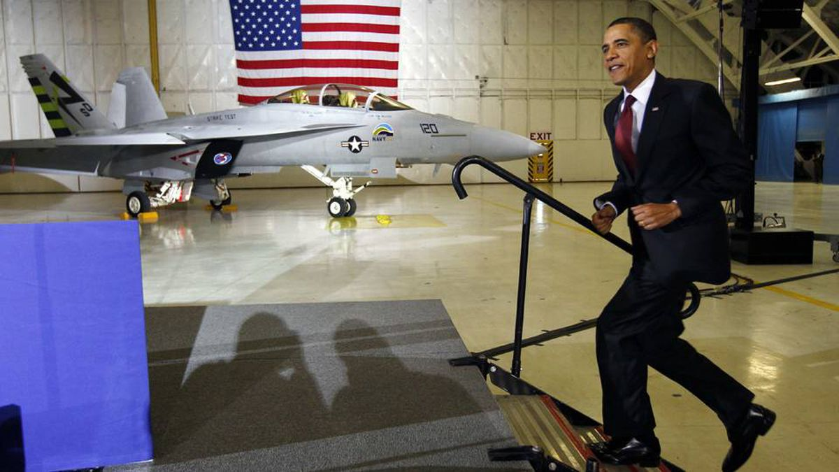 U.S. President Barack Obama arrives to make remarks on energy security at Joint Base Andrews Naval Air Facility Washington March 31, 2010.