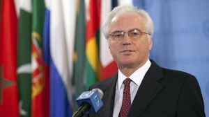 Russian ambassador to the United Nations Vitaly Churkin speaks to the media after a Security Council meeting at the United Nations in New York April 14, 2012. The U.N. Security Council on Saturday unanimously authorized the deployment of up to 30 unarmed observers to Syria to monitor the country's fragile ceasefire. Russia and China joined the other 13 council members and voted in favor of the Western-Arab draft resolution. REUTERS/Allison Joyce