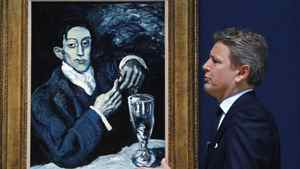 The president of Christie's, Europe, Jussi Pylkkanen in front of a 1903 painting, Portrait of Angel Fernandez de Soto, by Pablo Picasso. The painting is to be auctioned with an estimated price of as much as $59-million (U.S.) The president of Christie's, Europe, Jussi Pylkkanen in front of a 1903 painting, Portrait of Angel Fernandez de Soto, by Pablo Picasso. The painting is to be auctioned with an estimated price of as much as $59-million (U.S.)