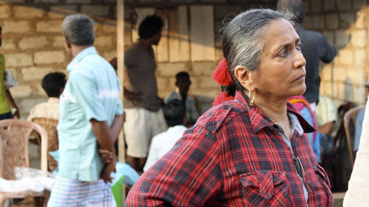 Mehta takes a moment on the set of Midnight's Children.