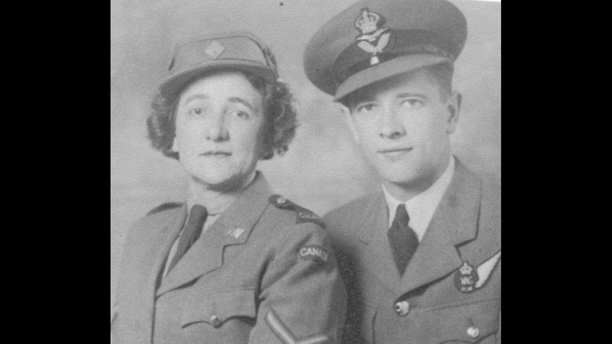 Mother and son both in the military in World War II (circa 1944). Robert A Coulter joined the RCAF in 1941 at Vancouver. His mother, Leah D. Coulter, joined the CWAC shortly after its formation in 1941.