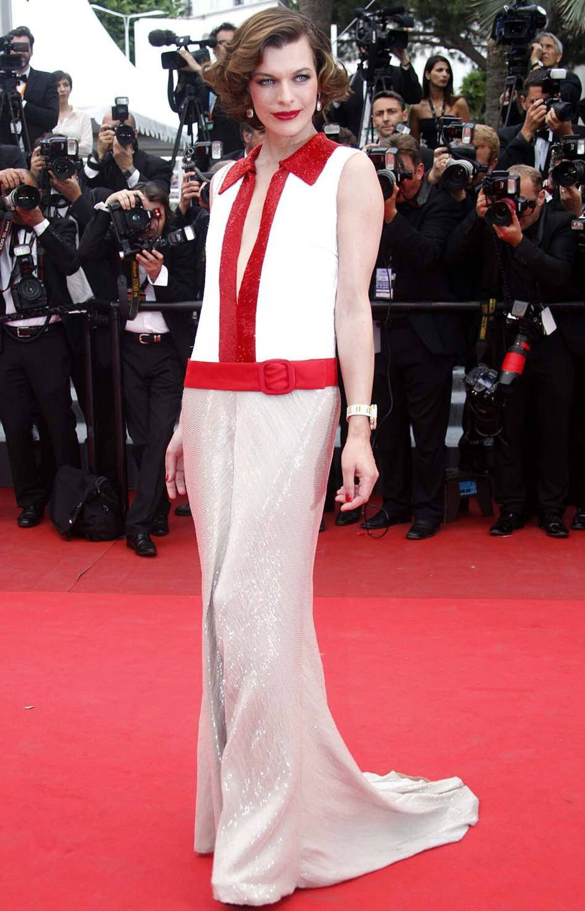 """Actress Milla Jovovich on the red carpet for the screening of the film """"La Conquete"""" at the Cannes Film Festival on Wednesday."""