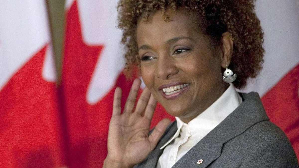 Governor-General Michaelle Jean gestures to the audience during a farewell reception in her honour on Parliament Hill on Sept. 28, 2010.