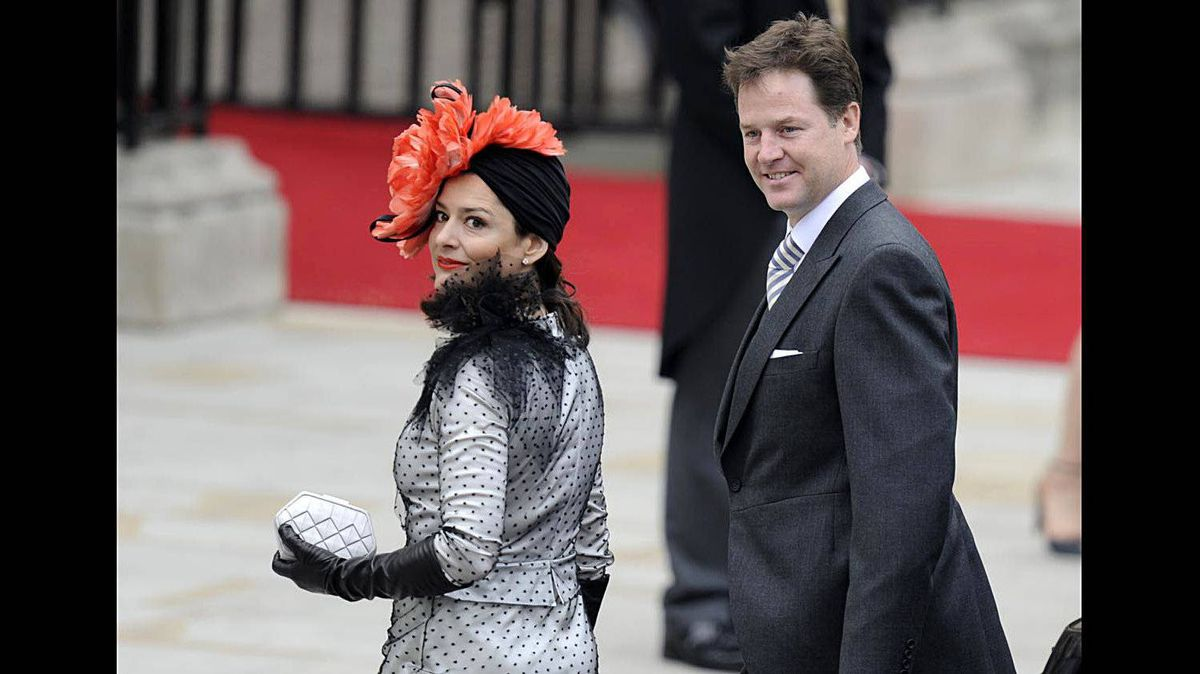 British Deputy Prime Minister Nick Clegg, right, and his wife Miriam Gonzalez Duantez arrive at the West Door of Westminster Abbey in London for the wedding of Britain's Prince William and Kate Middleton, on April 29, 2011.